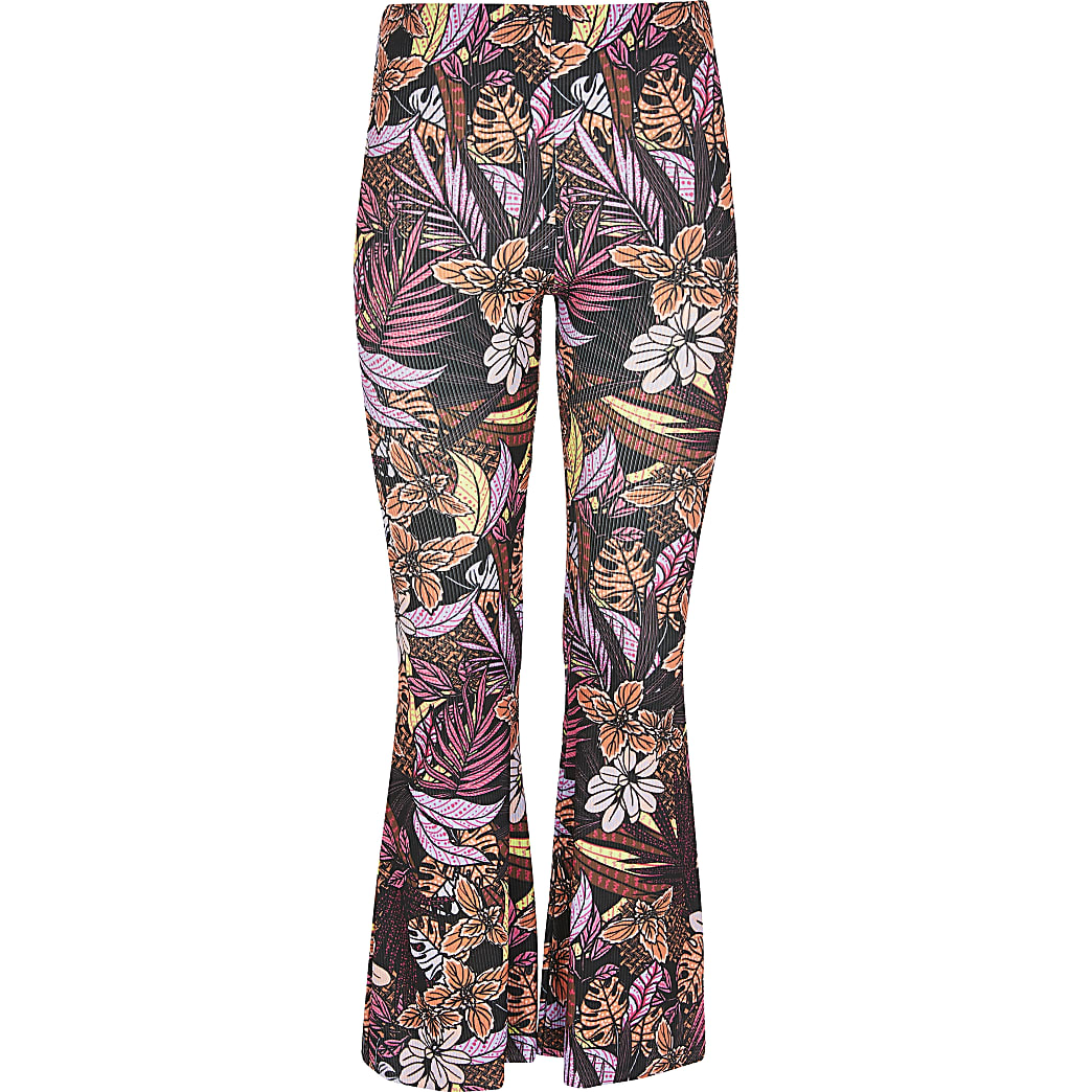 Girls black tropical print flare trousers