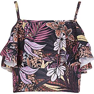 Girls black tropical print ruffle crop top