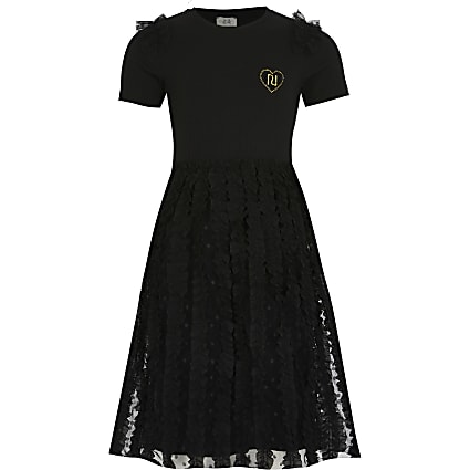 Girls black tulle lace midi dress