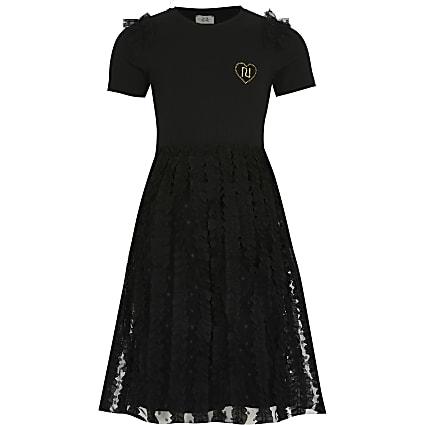 Girls black tulle lace midi dress