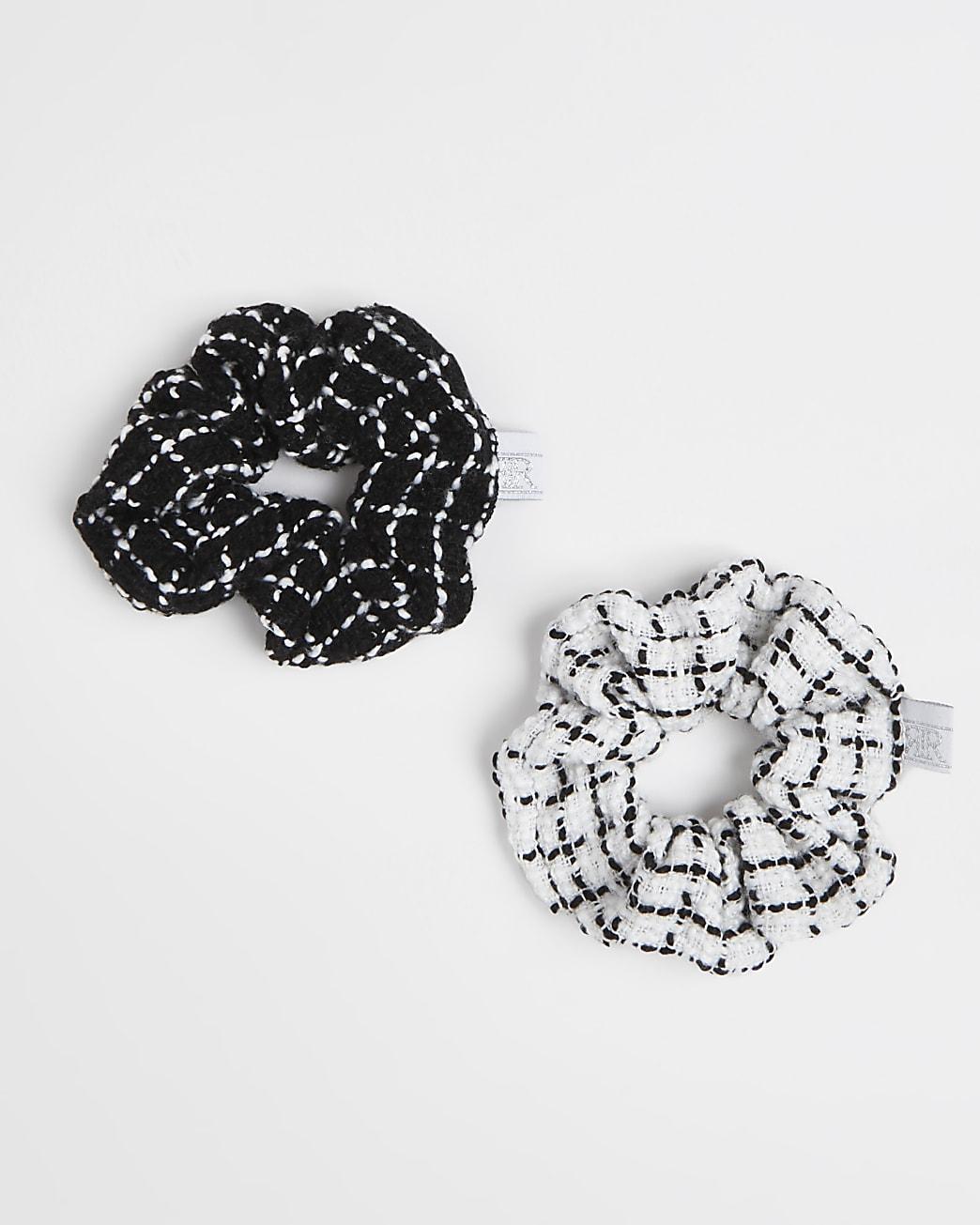 Girls black tweed hair scrunchies 2 pack