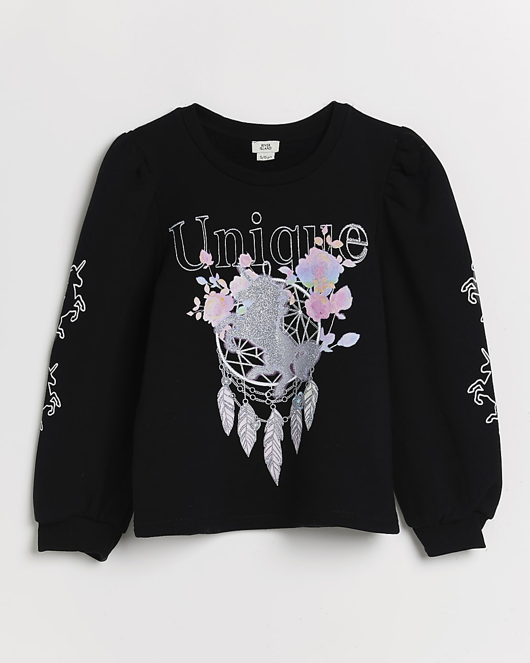 Girls black 'Unique' dream catcher sweatshirt