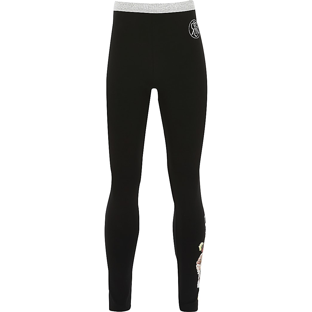 Girls black 'Unique fabulous' leggings