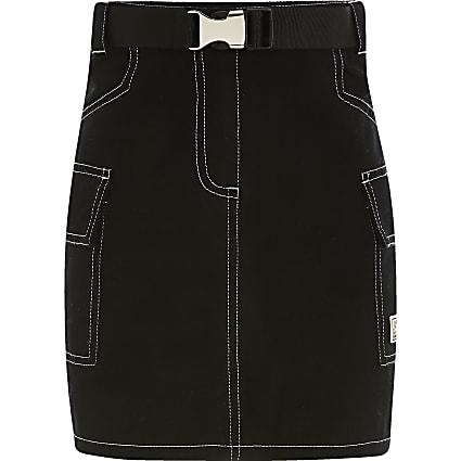 Girls black utility mini skirt