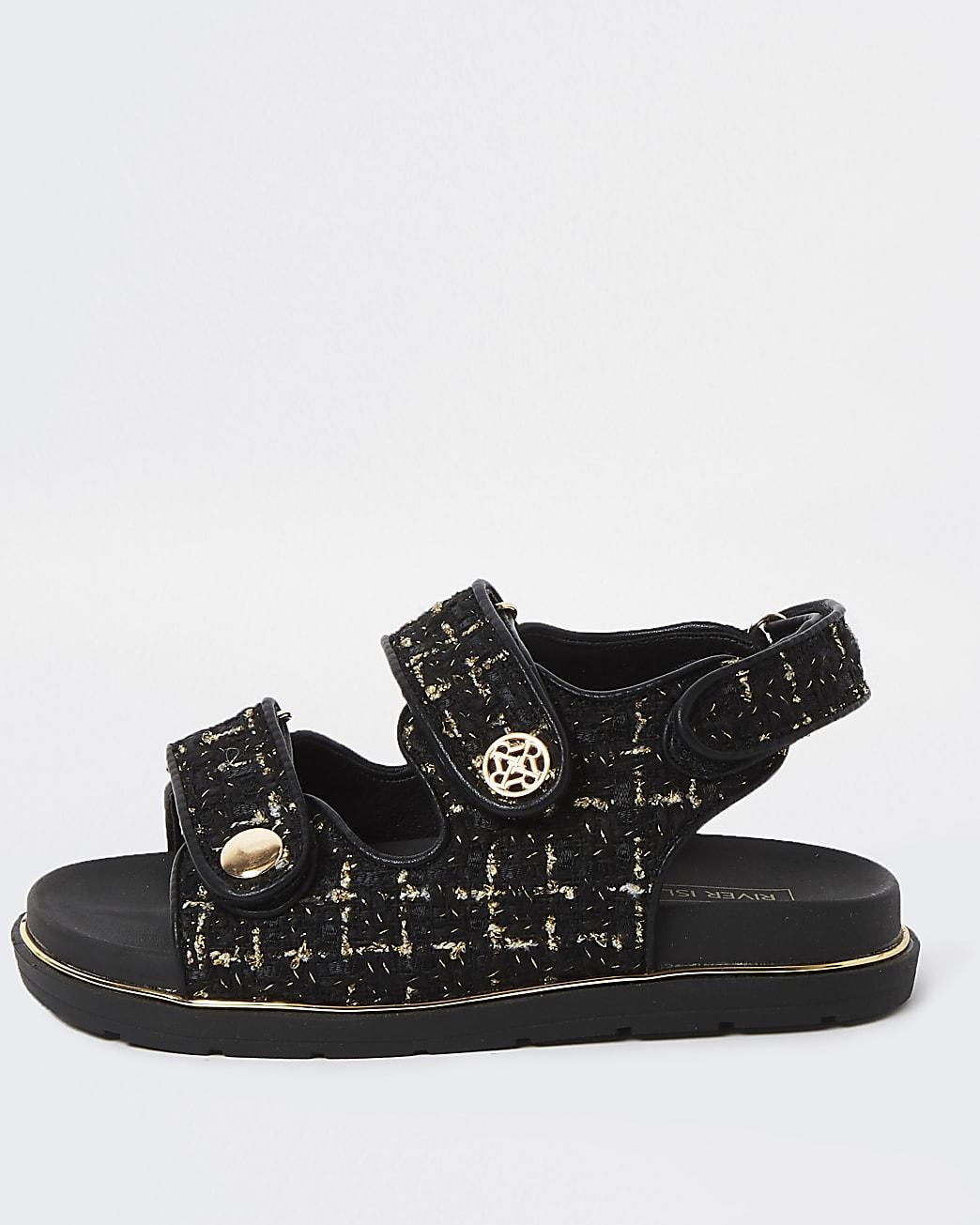Girls black velcro boucle strap sandals