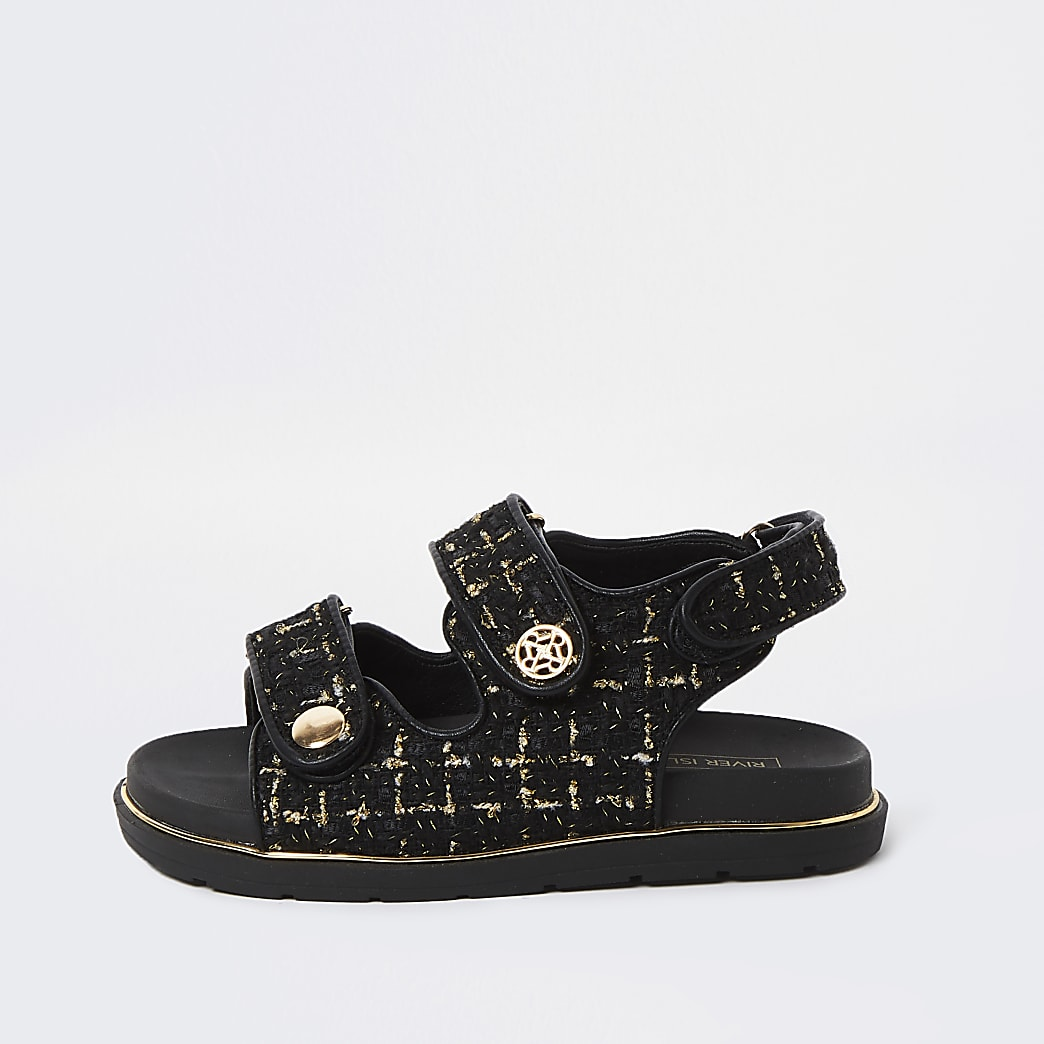 Girls black velcro boucle strap sandals