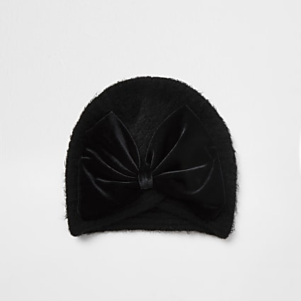 Girls black velvet bow turban