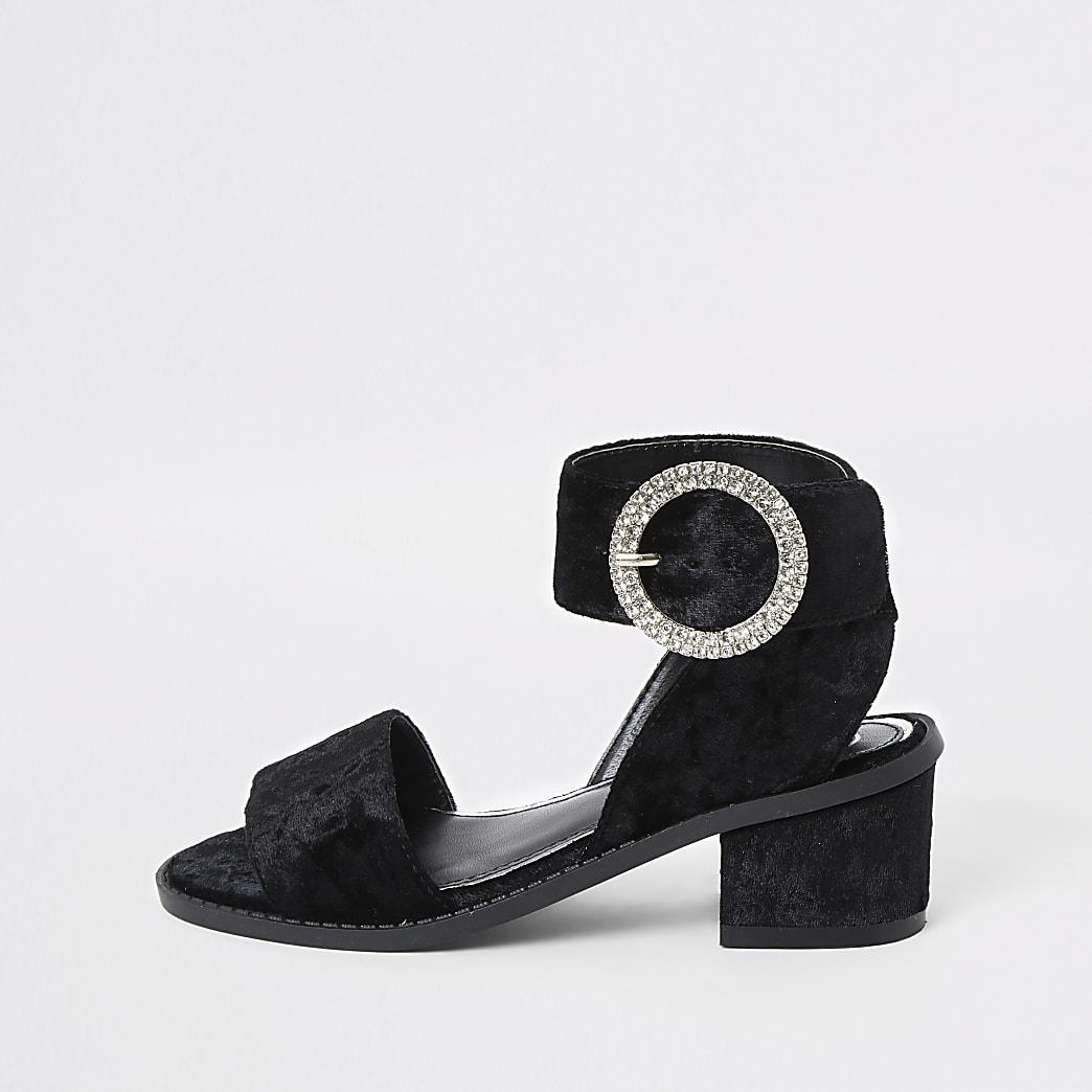 Zwarte fluwelen sandalen met hak voor meisjes