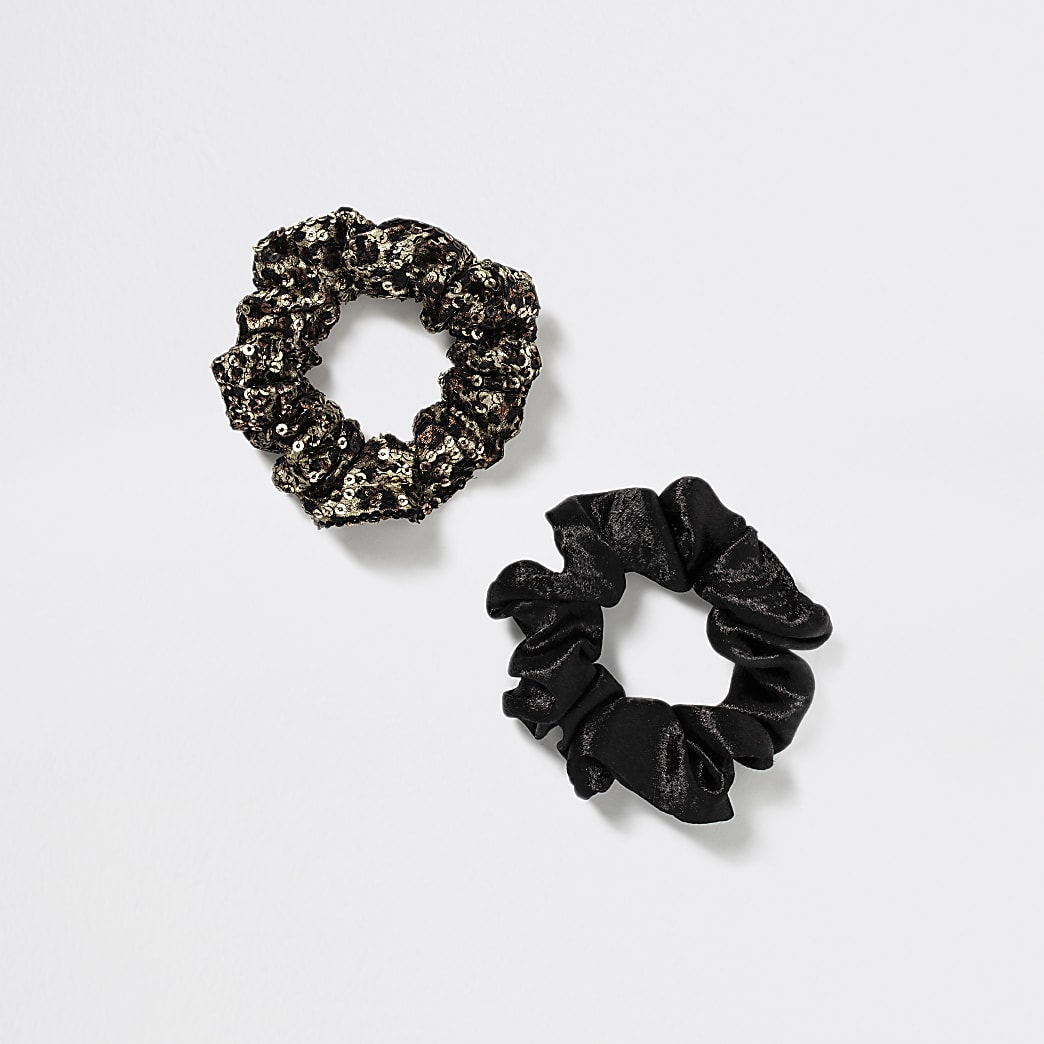 Girls black velvet leopard scrunchie 2 pack