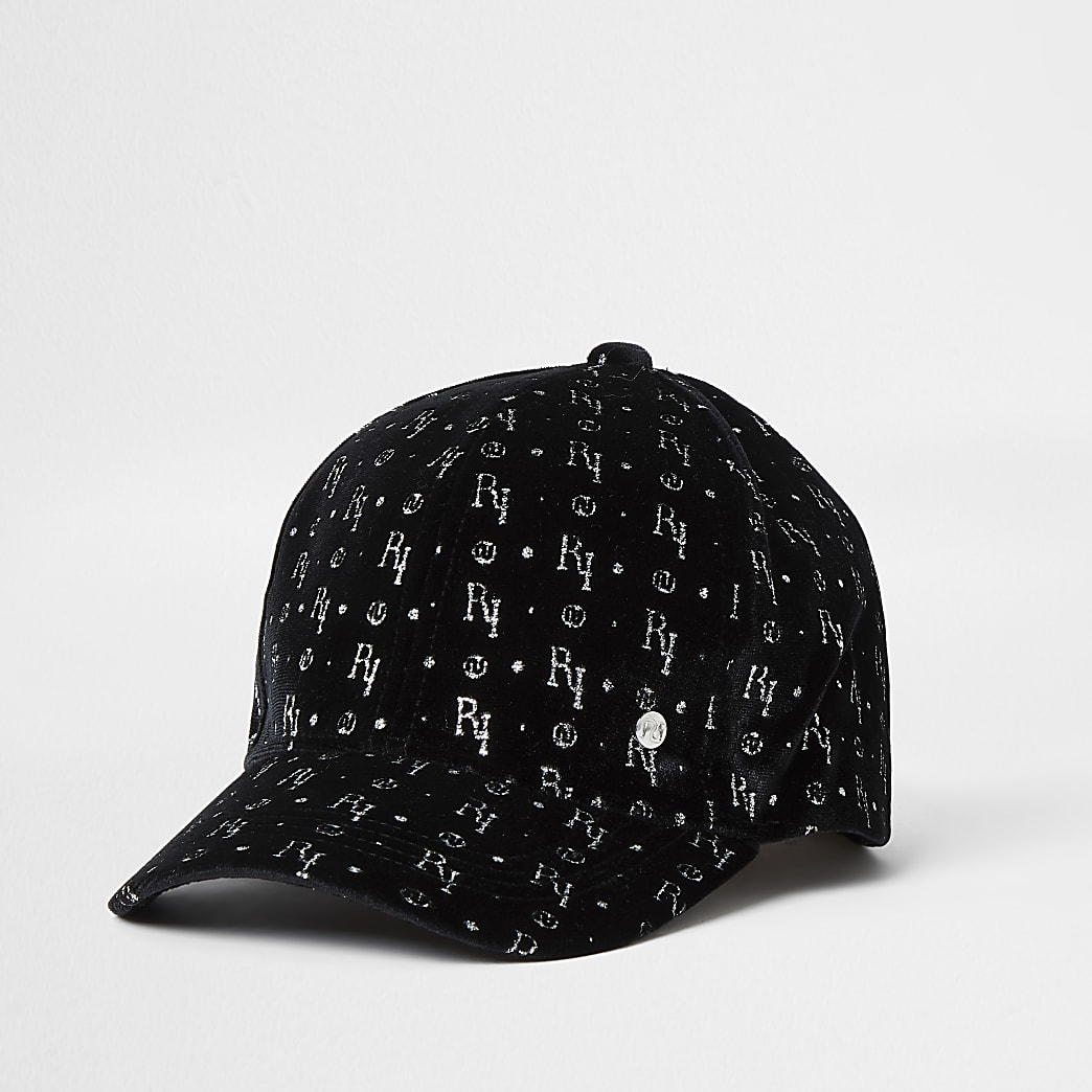 Girls black velvet RI monogram cap