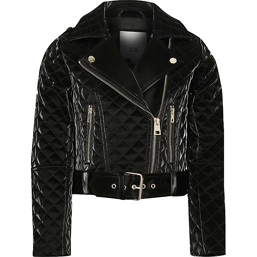 Girls black vinyl belted biker jacket