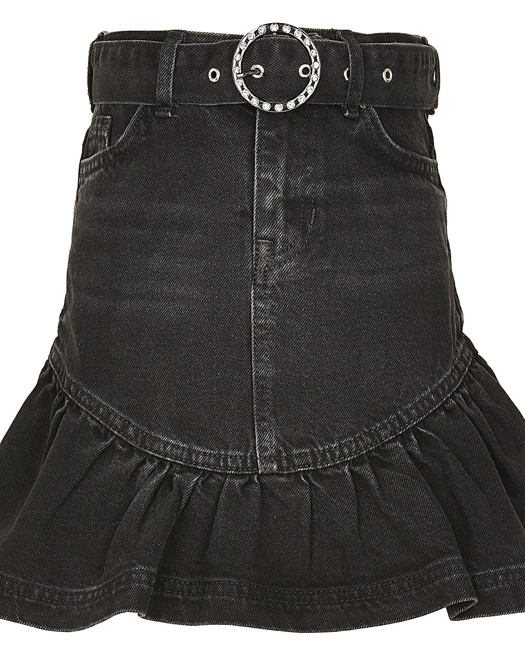 Girls black washed frill hem denim skirt