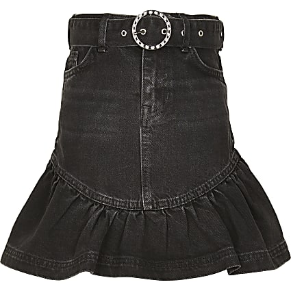 Girls black washed frill hem denim skirt