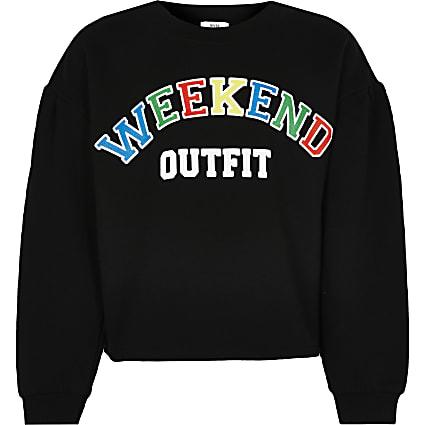 Girls black 'Weekend Outfit' sweatshirt