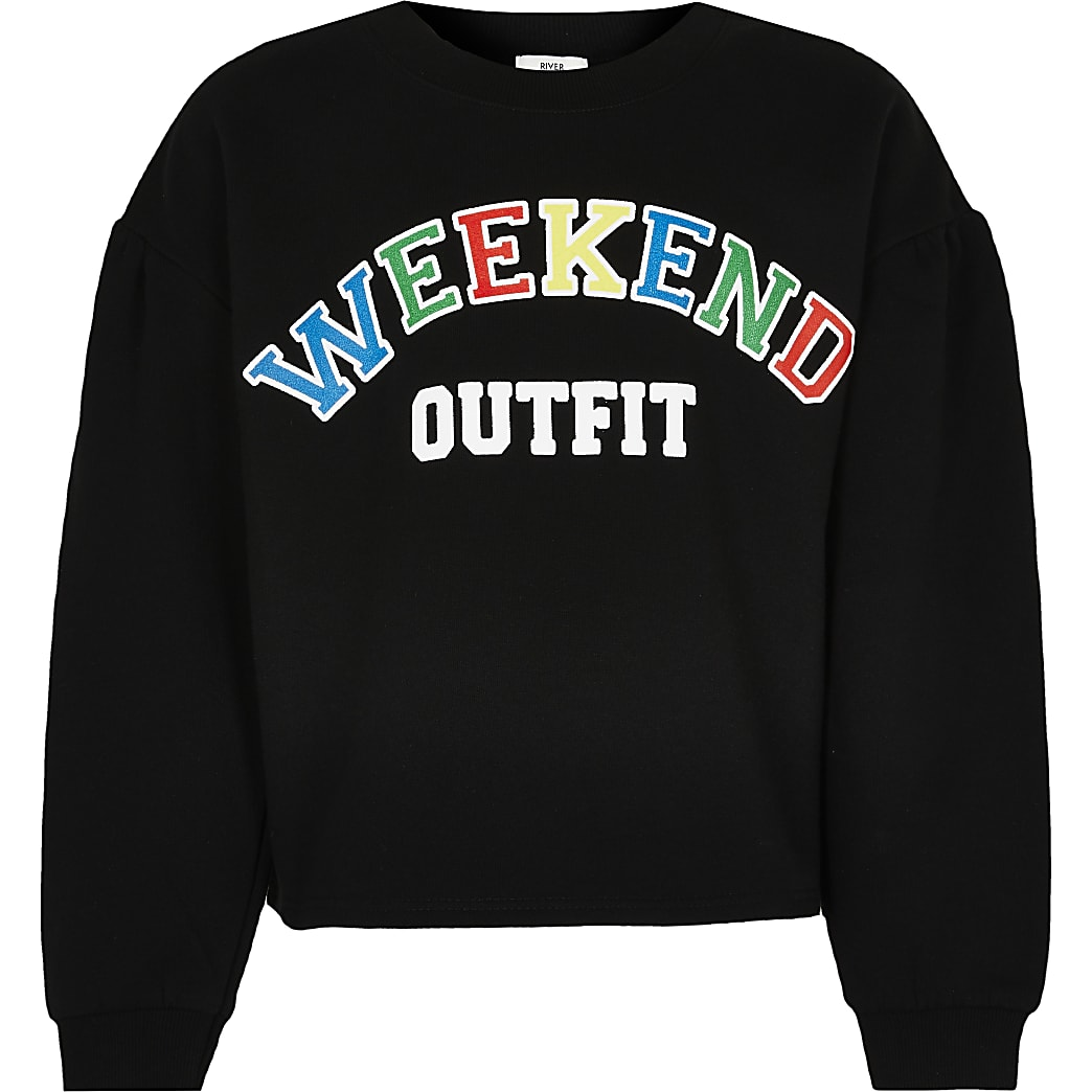 Girls black 'Weekend Outfit' sweatshirt