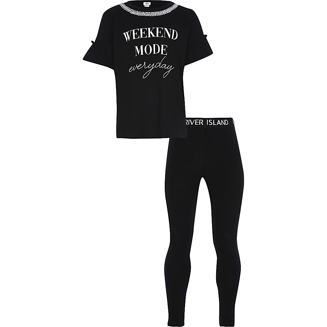 Girls black 'Weekend' t-shirt outfit