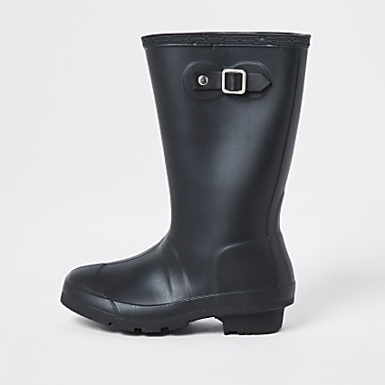 Girls black wellington boots