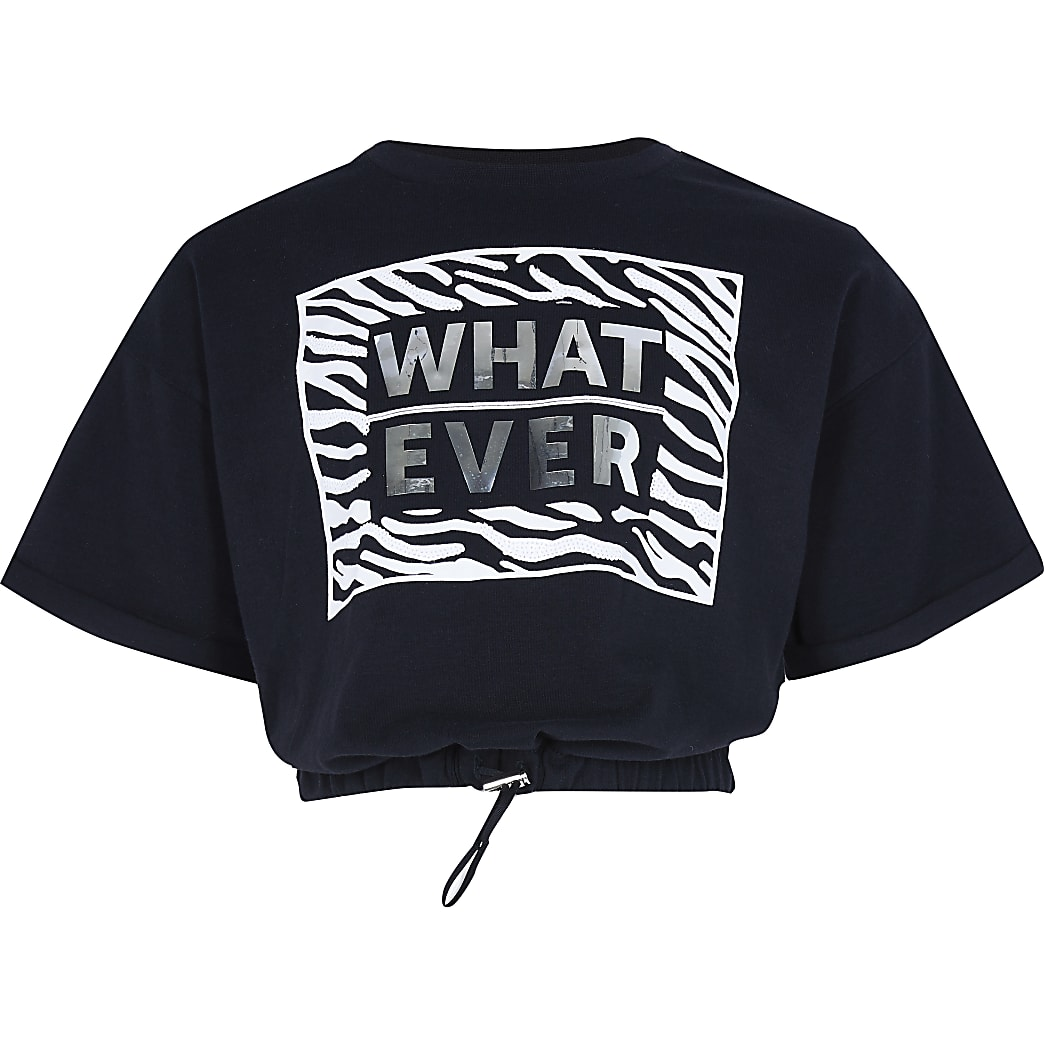 Girls black 'whatever' cinch hem t-shirt