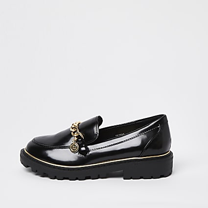 Girls black wide fit chain chunky loafers