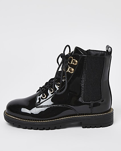 Girls black wide fit lace up boots