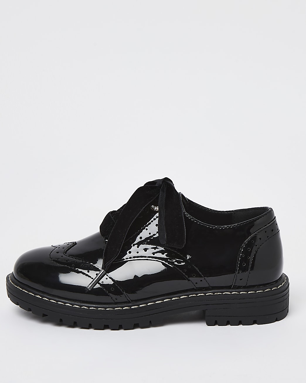 Girls black wide fit patent brogue shoes