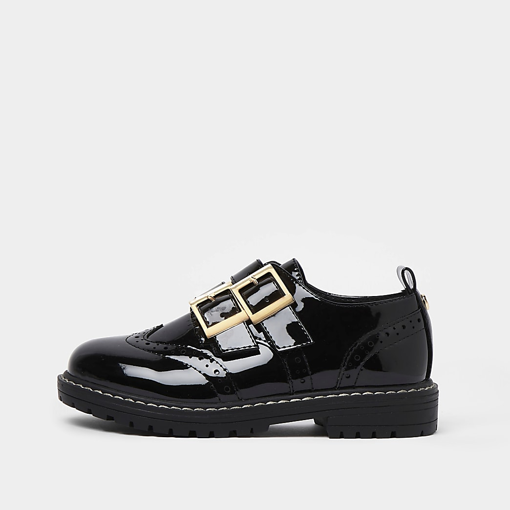 Girls black wide fit patent buckle shoes