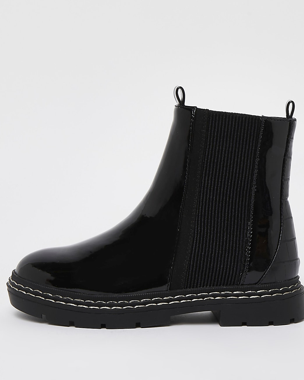 Girls black wide fit patent chelsea boots