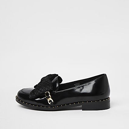 Girls black wide fit RI bow loafer