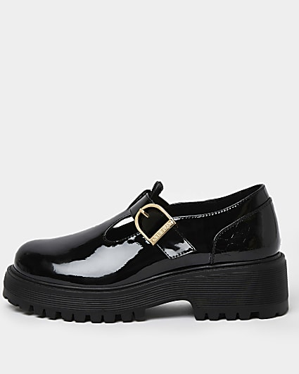 Girls black wide fit RI embossed shoes