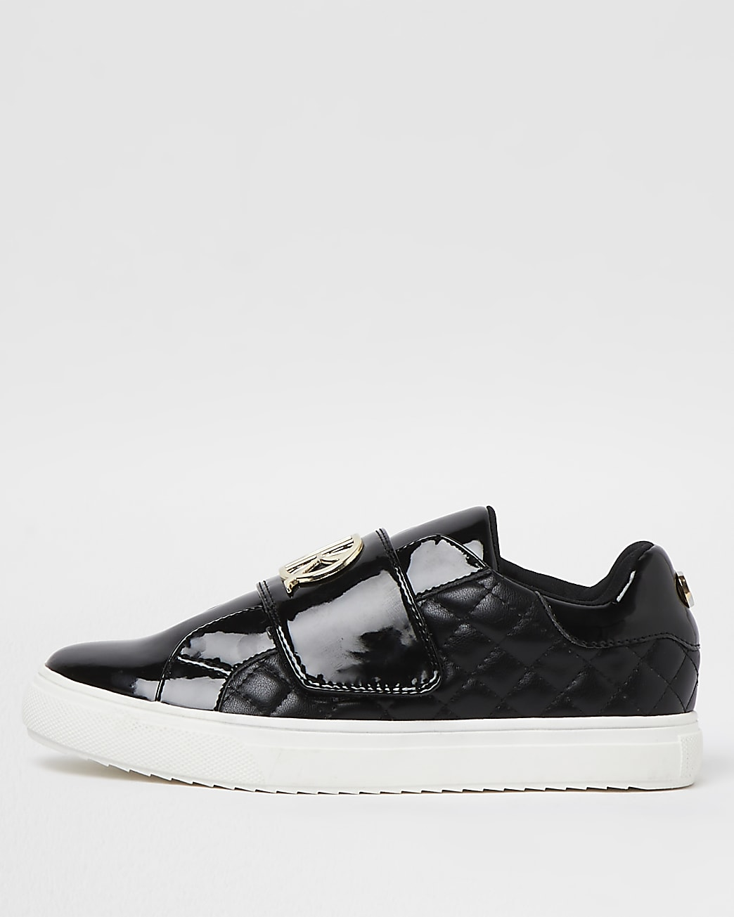 Girls black wide fit RI quilted plimsoles