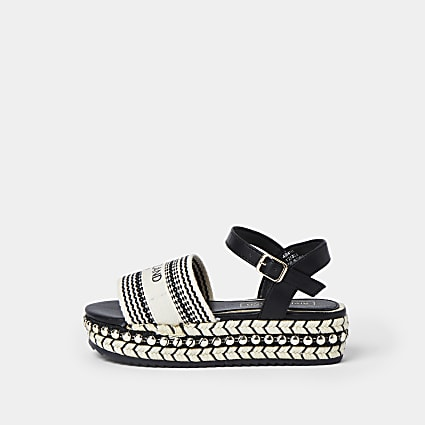 Girls black woven flatform sandal