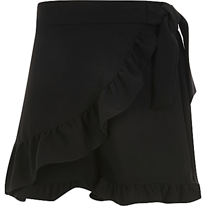 Girls black wrap skort