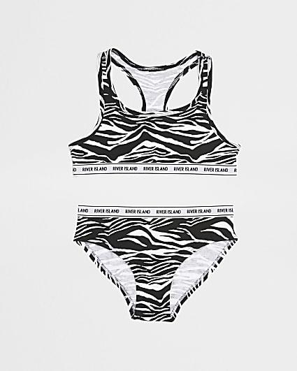 Girls black zebra crop and brief set