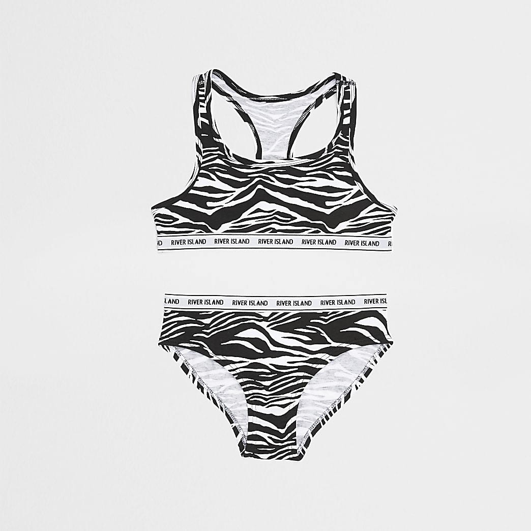 Girls black zebra crop and brief set