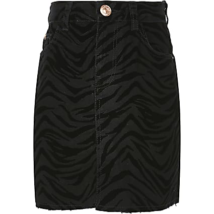 Girls black zebra flocked skirt