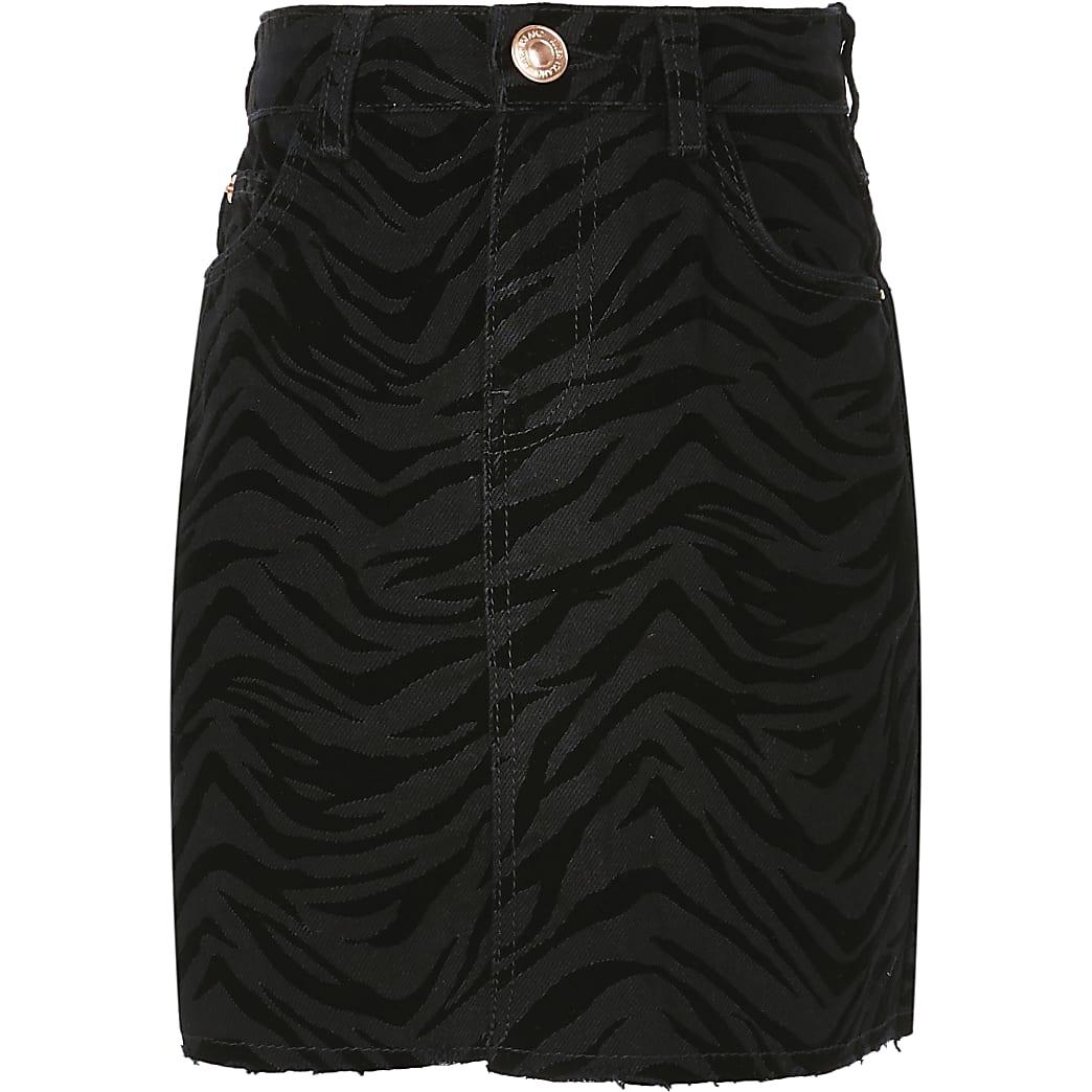 Girls black zebra flocked skirt