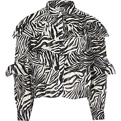 Girls black zebra frill shirt