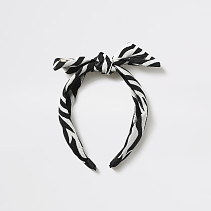 Girls black zebra print bow headband