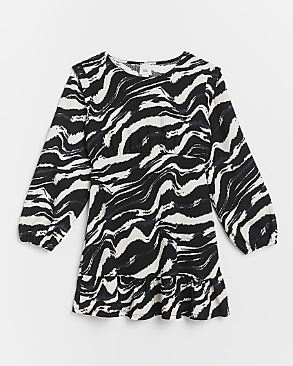 Girls black zebra print frill hem dress