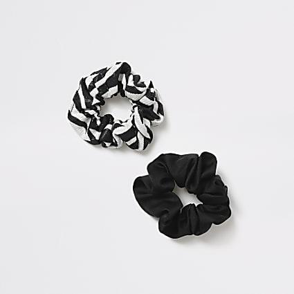 Girls black zebra print scrunchies 2 pack