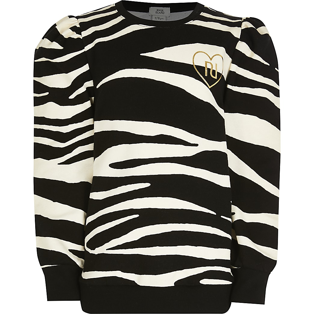 Girls black zebra puff sleeve jumper