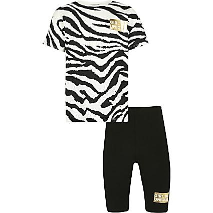 Girls black zebra t-shirt & shorts outfit