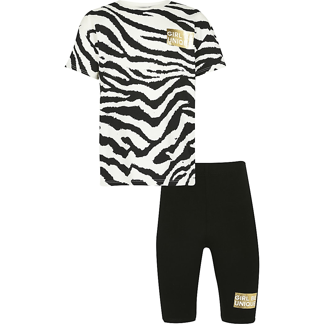 Girls black zebra t-shirt & shorts outfit