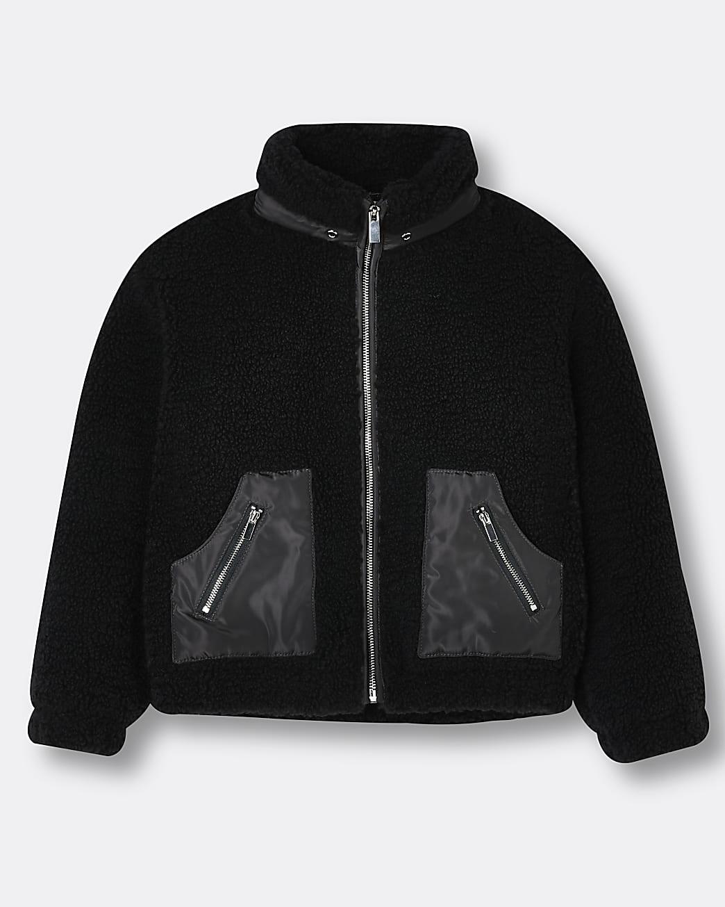 Girls black zip funnel borg jacket