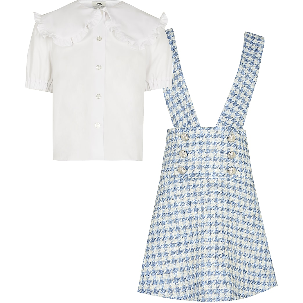 Girls blue 2 in 1 dogtooth pinafore dress