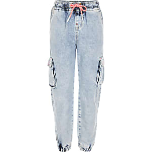 Girls blue acid wash denim joggers