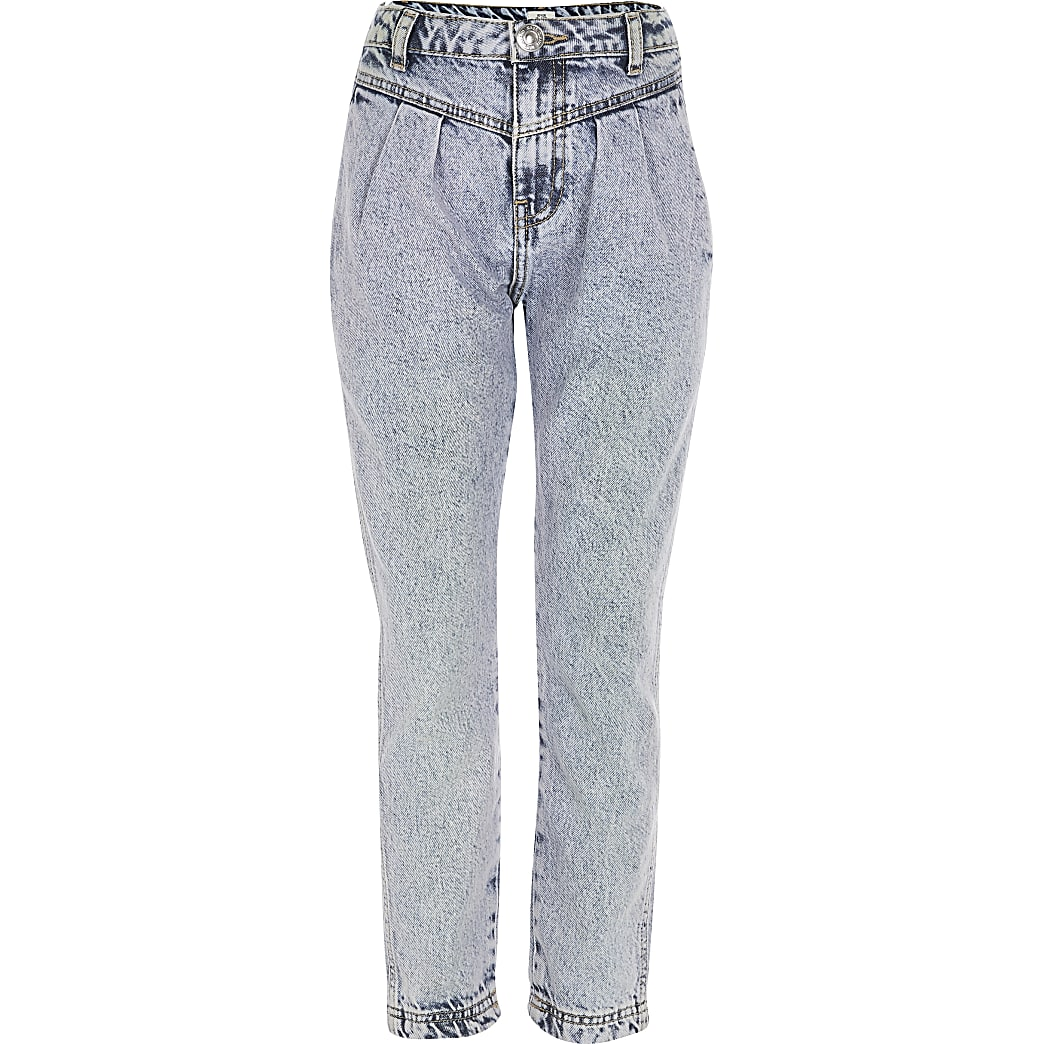 Girls blue acid wash high rise Mom jeans