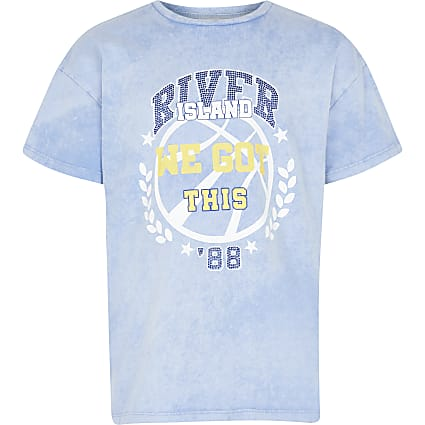 Girls blue acid wash t-shirt