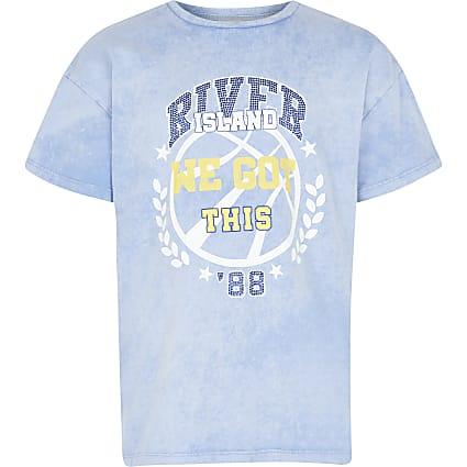 Girls blue acid wash t-shirt