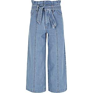 Alexa – Blaue Crop Jeans mit weitem Hosenbein